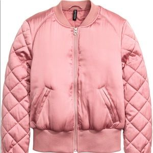 Divided H&M Pink Satin Bomber Jacket Size M